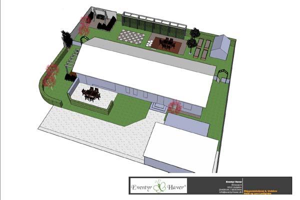 Haveplaner i 3D af parcelhus have,