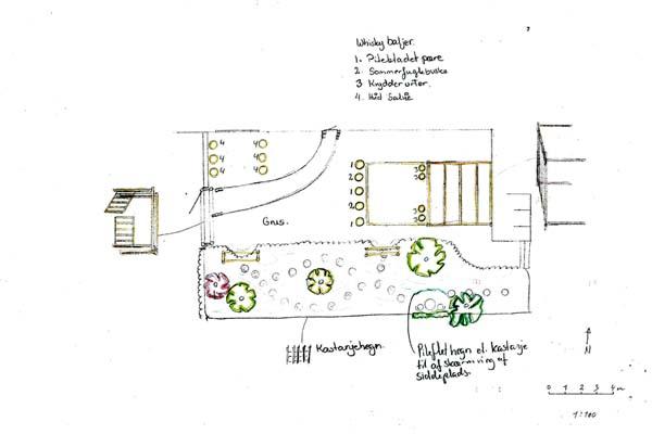 Detaliltegning af gårdsplads og måneskinsbed