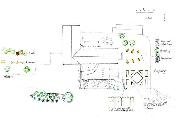 Haveplan af indkørsel og have ved skovejendom