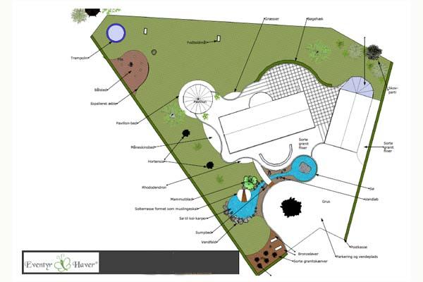 Haveplaner 3D murermestervilla med sø, pavillon udsigt og flot rundkørsel